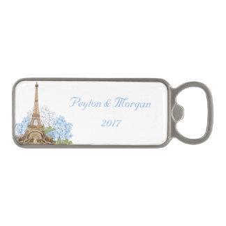Paris Wedding Blue Hydrangea Bottle Opener Magnetic Bottle Opener