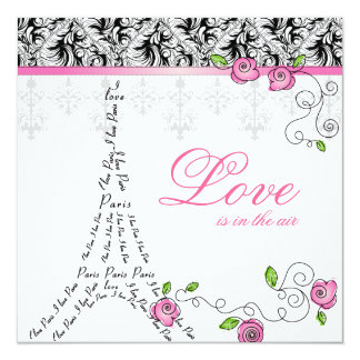 Paris Wedding Invitation Pink Roses Black White