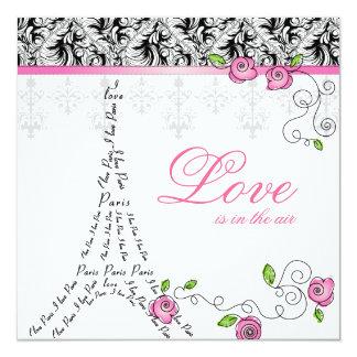 Paris Wedding Invitation Pink Roses Black White