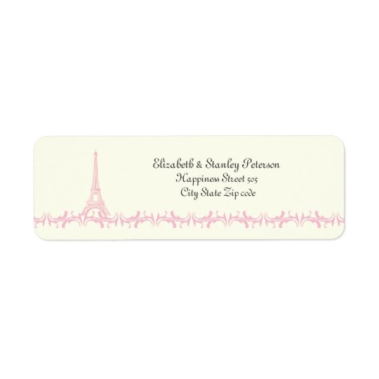 Paris wedding pink Eiffel Tower ivory label Return Address Label