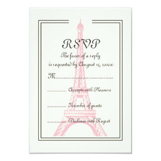 Paris wedding pink Eiffel Tower on ivory RSVP card