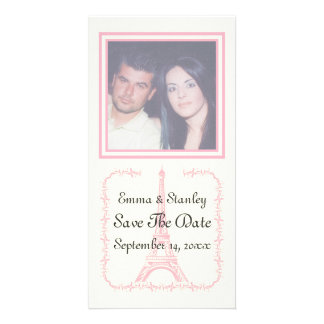 Paris wedding pink Eiffel Tower Save the Date Customized Photo Card