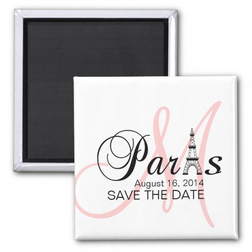 Paris Wedding Save the Date Monogram Magnets Pink Refrigerator Magnets