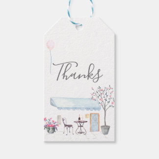 Paris Wedding watercolor wildflowers guest favor Gift Tags