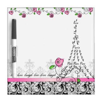 Paris White Board Eiffel Tower Pink Roses Dry-Erase Boards