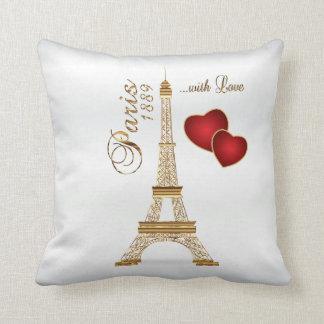 Paris with Love in Metallic Gold & White Satin Throw Pillow