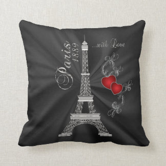 Paris with Love in Metallic Silver Throw Pillow