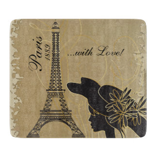 Paris with Love Silhouette Cutting Board