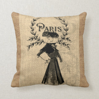 Paris Woman Fashion Vintage Jute Burlap Pillow