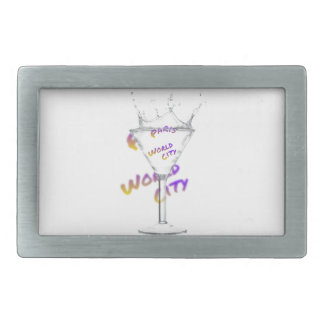 Paris world city, text in drink Glass Belt Buckles