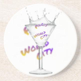 Paris world city, text in drink Glass Beverage Coaster