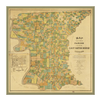 Parish of East Baton Rouge, Louisiana Map (1895) Canvas Print