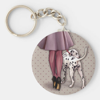 Parisian and its Dalmatian in walk Basic Round Button Keychain