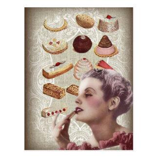 parisian bakery cupcake pastry retro cookies postcard