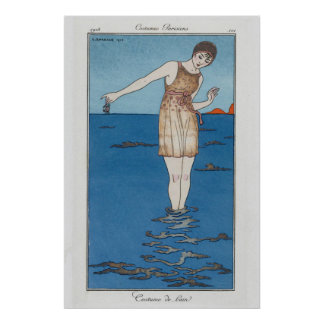 parisian bathing suit poster