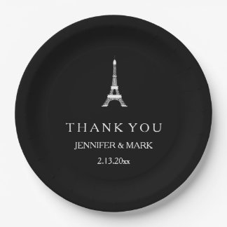 Parisian Black and White Wedding Eiffel Tower 9 Inch Paper Plate