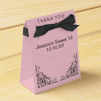 Parisian Boutique Pink Black Sweet Sixteen Date Favor Box