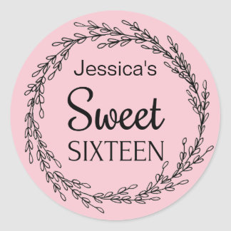 Parisian Boutique Pink Black Sweet Sixteen Name Classic Round Sticker