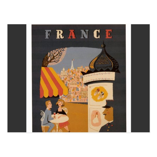 Parisian Cafe Travel Poster Postcard