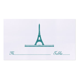 Parisian Chic Place Card, Teal Business Card Template