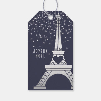 Parisian Christmas with Eiffel Tower and Snow Gift Tags