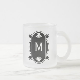 Parisian Deco Monogrammed Frosted Glass Coffee Mug