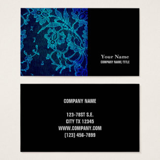 Parisian Feminine Victorian Gothic Navy Blue Lace Business Card