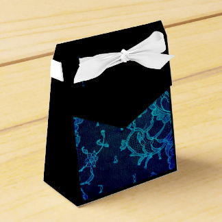 Parisian Feminine Victorian Gothic Navy Blue Lace Favor Box