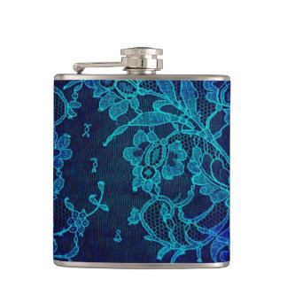 Parisian Feminine Victorian Gothic Navy Blue Lace Flask