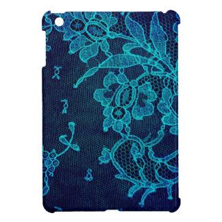 Parisian Feminine Victorian Gothic Navy Blue Lace iPad Mini Cover