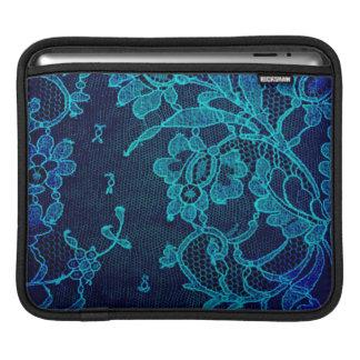 Parisian Feminine Victorian Gothic Navy Blue Lace iPad Sleeve