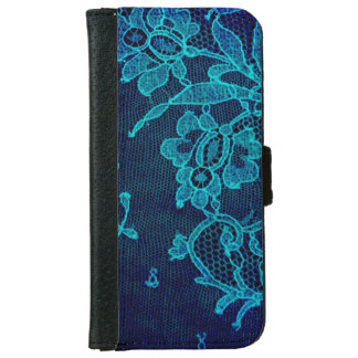 Parisian Feminine Victorian Gothic Navy Blue Lace iPhone 6 Wallet Case