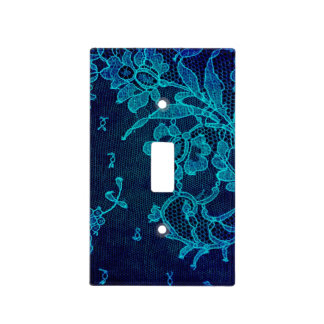 Parisian Feminine Victorian Gothic Navy Blue Lace Light Switch Cover