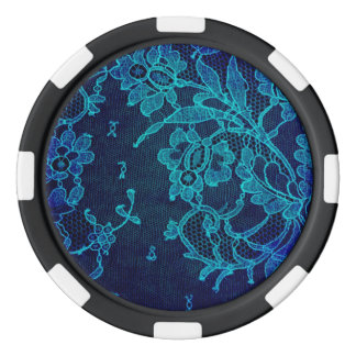 Parisian Feminine Victorian Gothic Navy Blue Lace Poker Chips
