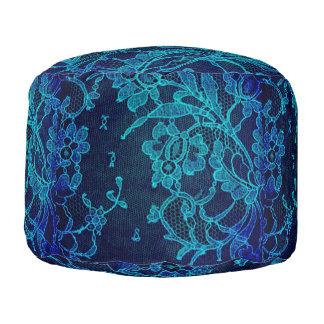 Parisian Feminine Victorian Gothic Navy Blue Lace Pouf