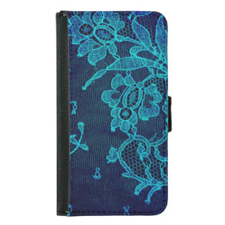 Parisian Feminine Victorian Gothic Navy Blue Lace Samsung Galaxy S5 Wallet Case