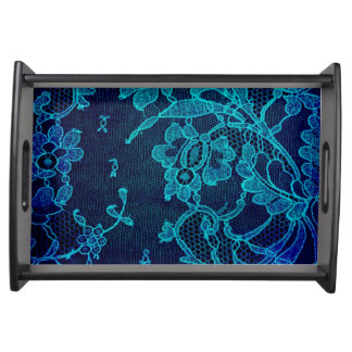 Parisian Feminine Victorian Gothic Navy Blue Lace Serving Tray