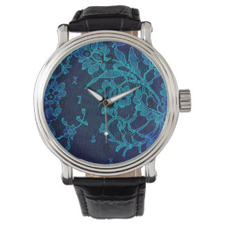 Parisian Feminine Victorian Gothic Navy Blue Lace Wristwatches