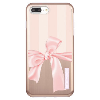Parisian Girly Pink Stripes & Light Pink Bow Incipio DualPro Shine iPhone 8 Plus/7 Plus Case