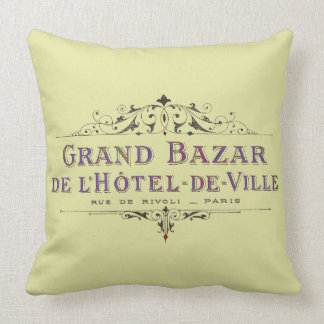 Parisian Hotel Vintage French Advertisement Throw Pillow