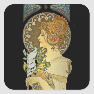 Parisian Lady and Feather 1899 Square Sticker