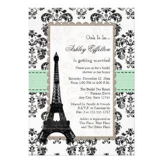 Parisian Mint and Black Bridal Shower Invitations