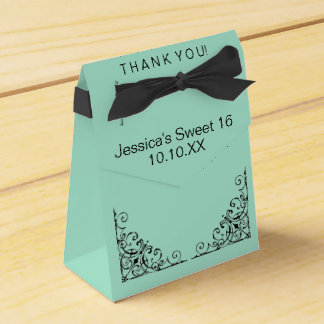 Parisian Mint Green Black Sweet Sixteen Date Favor Box