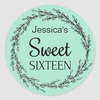 Parisian Mint Green Black Sweet Sixteen Name Classic Round Sticker