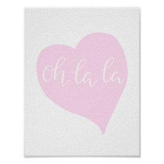 Parisian Oh La La Chic Girly Rose Cute Heart Poster