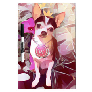 "Parisian Pale Pink Pooch ""W"" Dry-Erase Whiteboards"