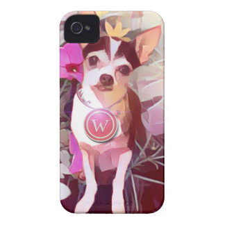 "Parisian Pale Pink Pooch ""W"" iPhone 4 Case-Mate Cases"