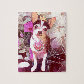 "Parisian Pale Pink Pooch ""W"" Jigsaw Puzzle"
