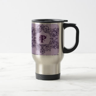 PARISIAN PURPLE BAROQUE FRAME WITH INITIAL TRAVEL MUG