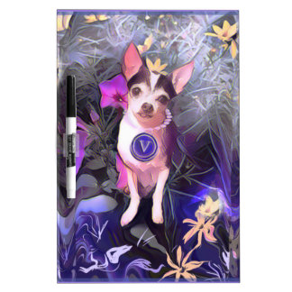 "Parisian Purple Pooch ""V"" Monogram Dry-Erase Boards"